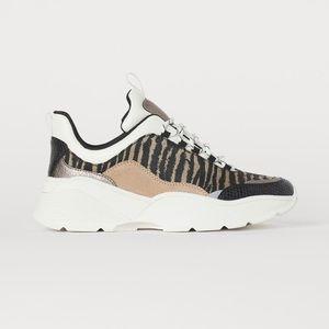 H&M Beige Zebra Print Sneaker Dad Shoe